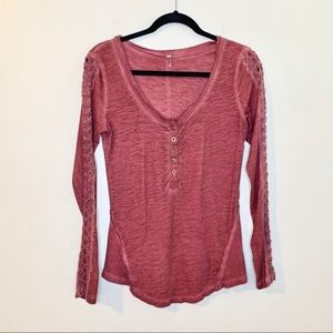 FREE PEOPLE Red Lace Long Sleeve Shirt